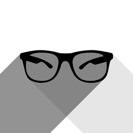 rim: Sunglasses sign illustration. Vector. Black icon with two flat gray shadows on white background.