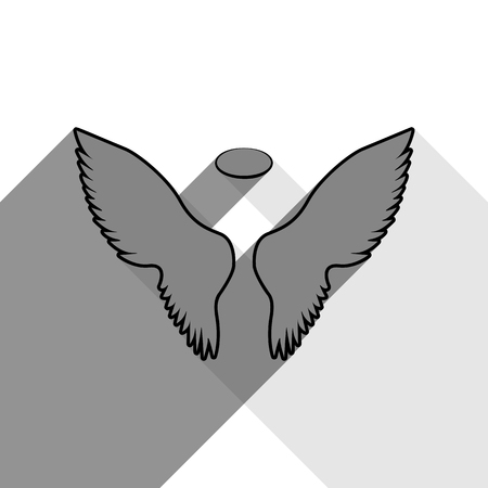 날개 기호 그림입니다. 벡터. 흰색 배경에 두 평면 회색 그림자와 함께 검은 아이콘.