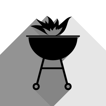 Barbecue with fire sign. Vector. Black icon with two flat gray shadows on white background.