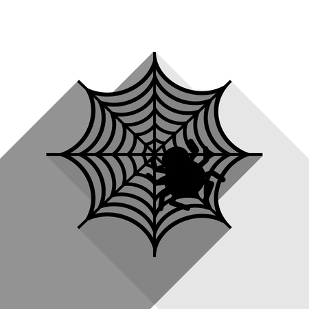 Spider on web illustration. Vector. Black icon with two flat gray shadows on white background.