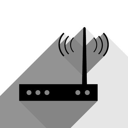 Wifi modem sign. Vector. Black icon with two flat gray shadows on white background. Illustration
