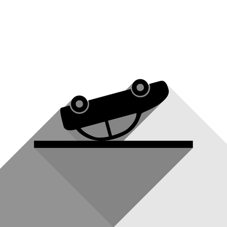 smash: Crashed Car sign. Vector. Black icon with two flat gray shadows on white background.