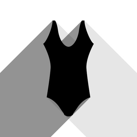 Womans swimsuit sign. Vector. Black icon with two flat gray shadows on white background.