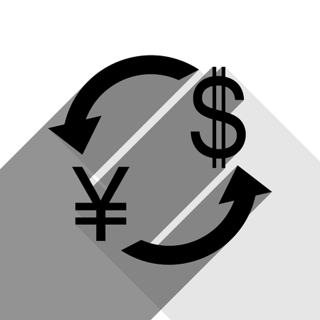 Currency exchange sign. Japan Yen and US Dollar. Vector. Black icon with two flat gray shadows on white background.