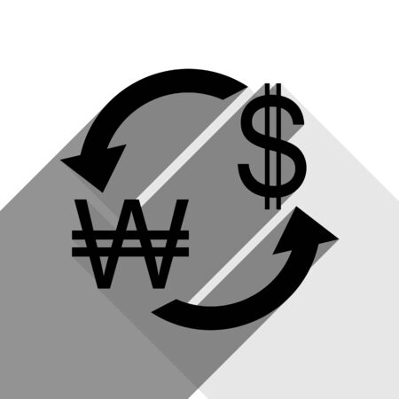Currency exchange sign. South Korea Won and US Dollar. Vector. Black icon with two flat gray shadows on white background. Illustration