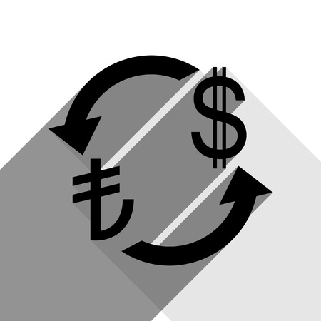 Currency exchange sign. Turkey Lira and US Dollar. Vector. Black icon with two flat gray shadows on white background.