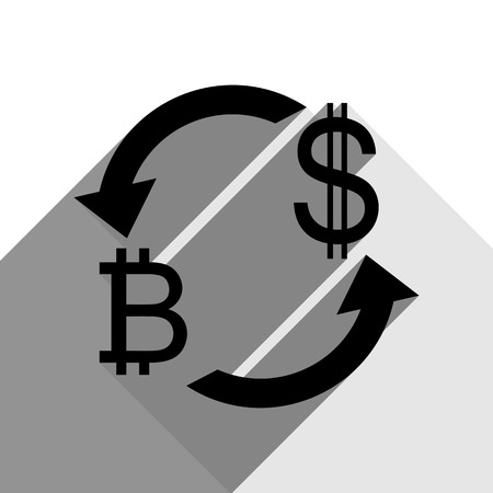Currency exchange sign. Bitcoin and US Dollar. Vector. Black icon with two flat gray shadows on white background.