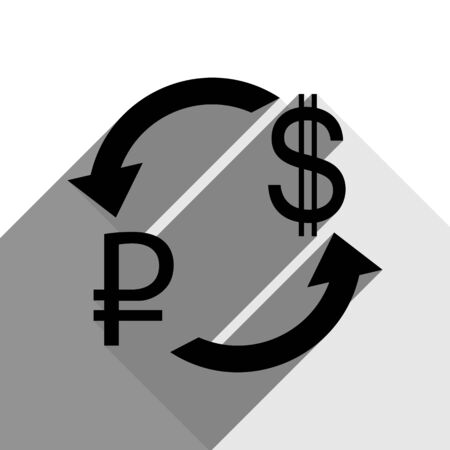 Currency exchange sign. Ruble and US Dollar. Vector. Black icon with two flat gray shadows on white background.