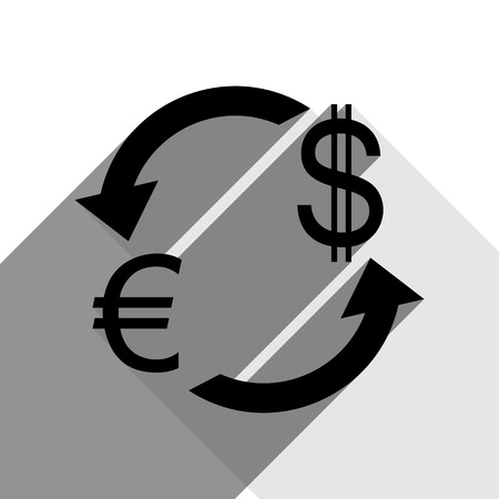 Currency exchange sign. Euro and US Dollar. Vector. Black icon with two flat gray shadows on white background.