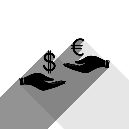 Currency exchange from hand to hand. Dollar adn Euro. Vector. Black icon with two flat gray shadows on white background. Stock Illustratie