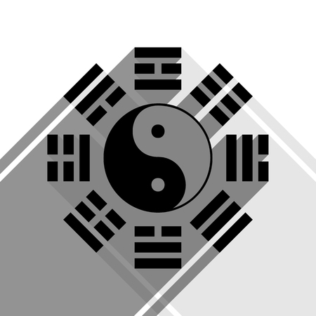 taiji: Yin and yang sign with bagua arrangement. Vector. Black icon with two flat gray shadows on white background.