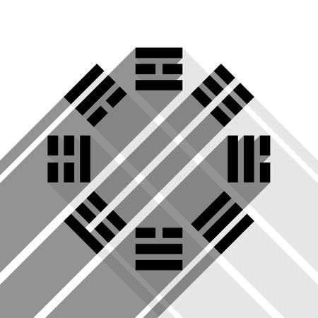 taiji: Bagua sign. Vector. Black icon with two flat gray shadows on white background.