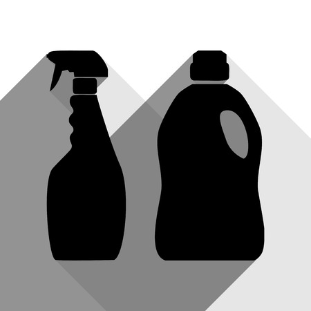 Household chemical bottles sign. Vector. Black icon with two flat gray shadows on white background. Illustration