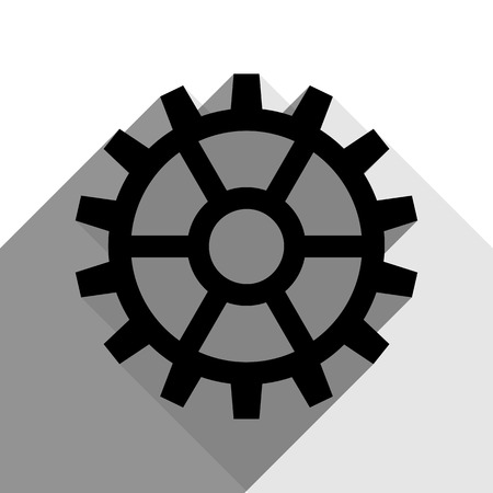 Gear sign. Vector. Black icon with two flat gray shadows on white background. Illustration
