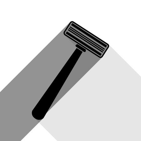 Signe de rasoir de sécurité. Vecteur. Icône noire avec deux ombres grises plates sur fond blanc.