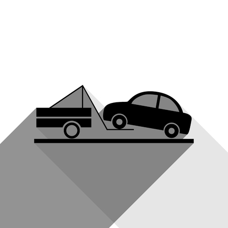 the wrecker: Tow truck sign. Vector. Black icon with two flat gray shadows on white background.