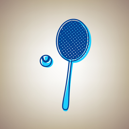 Tennis racket with ball icon. Ilustração