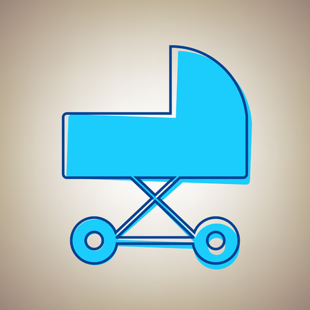 Pram sign Vector illustration. Sky blue icon with defected blue contour on a beige background.