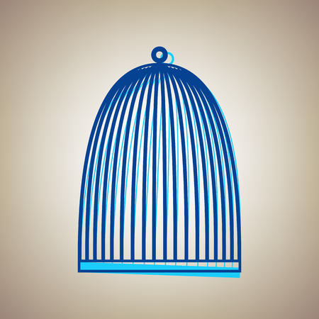 Bird cage sign. Vector. Sky blue icon with defected blue contour on beige background. Stock fotó - 85284551