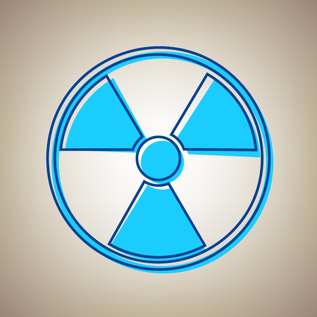 Radiation Round sign Vector illustration. Sky blue icon with defected blue contour on a beige background.