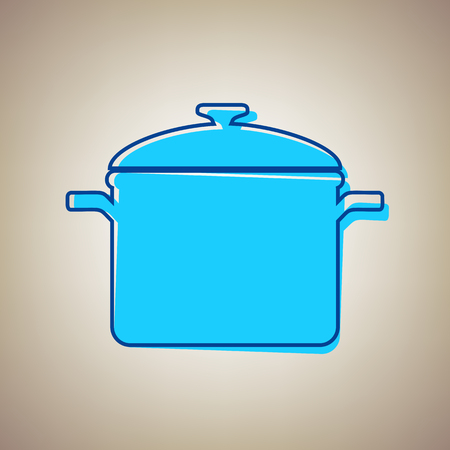 Cooking pan sign. Vector. Sky blue icon with defected blue contour on beige background. Иллюстрация