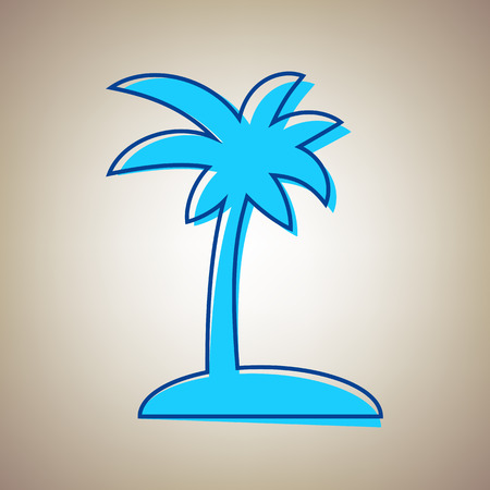 Coconut palm tree sign Vector illustration. Sky blue icon with defected blue contour on a beige background.