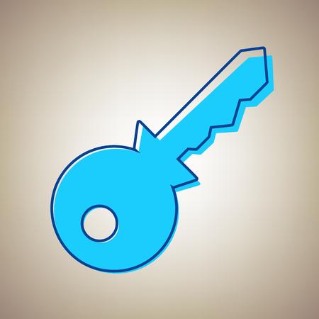 Key sign illustration. Vector. Sky blue icon with defected blue contour on beige background. Illustration