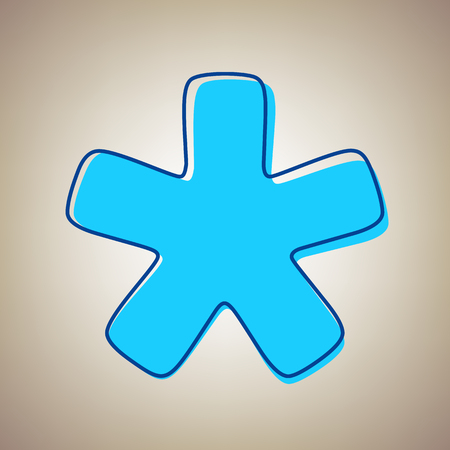 Asterisk star sign vector illustration. Sky blue icon with defected blue contour on a beige background. Illustration