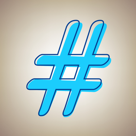 Hashtag sign vector illustration. Sky blue icon with defected blue contour on a beige background.