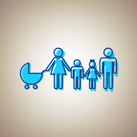 Family sign illustration. Vector. Sky blue icon with defected blue contour on beige background.