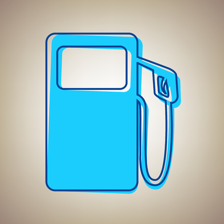 Gas pump sign. Vector. Sky blue icon with defected blue contour on beige background.