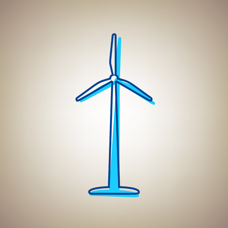 Wind turbine logo or sign vector illustration. Sky blue icon with defected blue contour on a beige background.