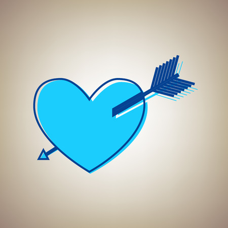 Arrow heart sign. Vector. Sky blue icon with defected blue contour on beige background. Illustration