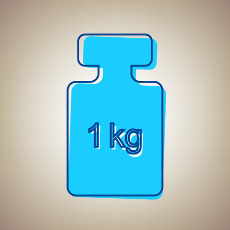 Weight simple sign. Vector. Sky blue icon with defected blue contour on beige background.