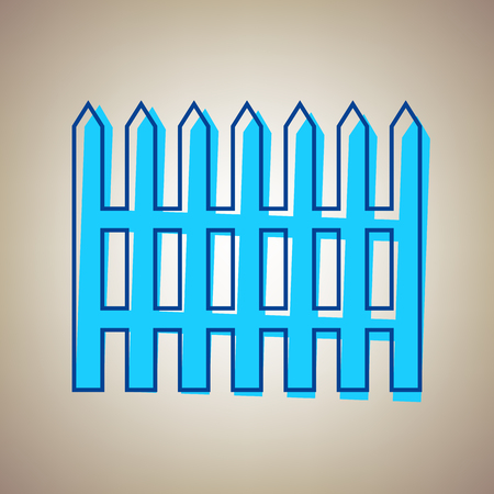 Fence simple sign. Vector. Sky blue icon with defected blue contour on beige background. Illustration