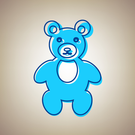 Teddy bear sign illustration. Vector. Sky blue icon with defected blue contour on beige background.