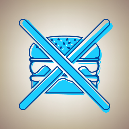 No burger sign. Vector. Sky blue icon with defected blue contour on beige background. Illustration