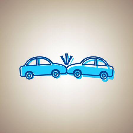 Crashed cars icon. Illustration