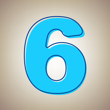mathematics: Number 6 sign design template element. Vector. Sky blue icon with defected blue contour on beige background. Illustration
