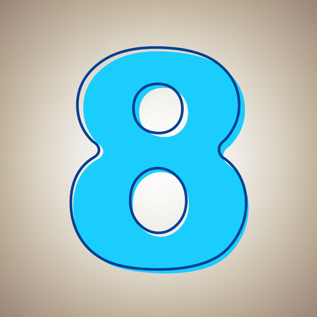 Number 8 sign design template element vector illustration. Sky blue icon with defected blue contour on a beige background.