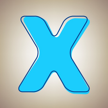 Letter X sign design template element. Vector. Sky blue icon with defected blue contour on beige background. Illustration