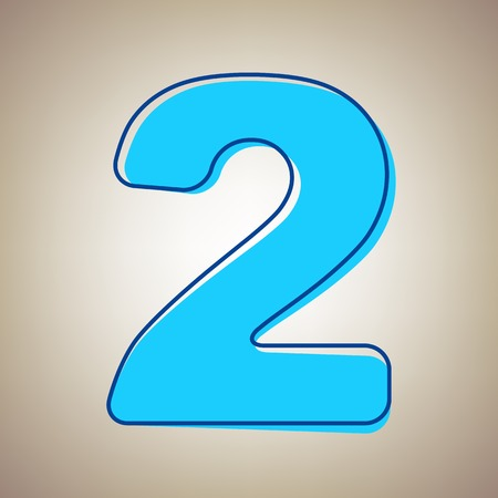 Number 2 sign design template elements. Vector. Sky blue icon with defected blue contour on beige background.