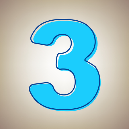 Number 3 sign design template element. Vector. Sky blue icon with defected blue contour on beige background. Illustration
