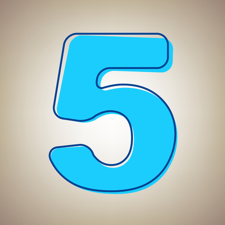 Number 5 sign design template element. Vector. Sky blue icon with defected blue contour on beige background. Illustration