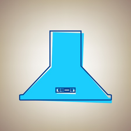extractor: Exhaust hood. Kitchen ventilation sign. Vector. Sky blue icon with defected blue contour on beige background.