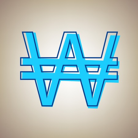 Won sign. Vector. Sky blue icon with defected blue contour on beige background.