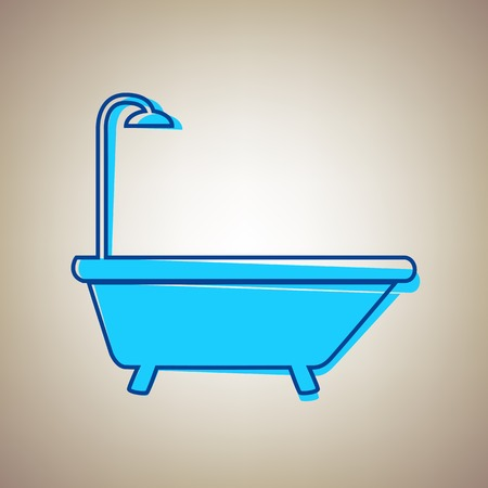 Bathtub sign. Vector. Sky blue icon with defected blue contour on beige background.