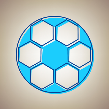 Soccer ball sign. Vector. Sky blue icon with defected blue contour on beige background. Illustration