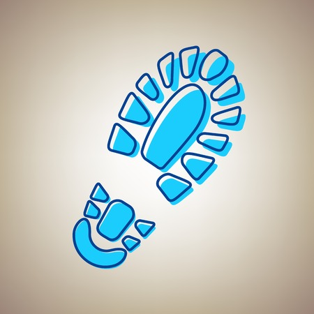 Footprint boot sign. Vector. Sky blue icon with defected blue contour on beige background.