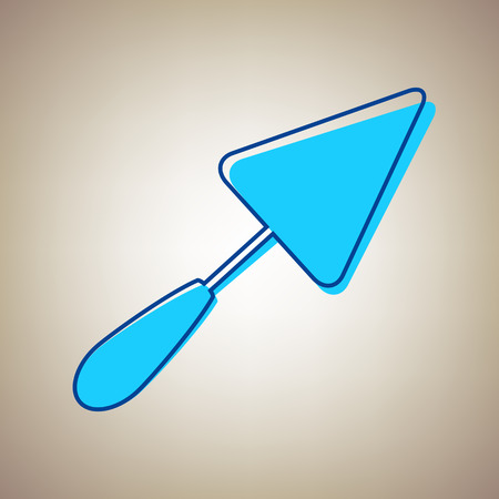 Trowel sign. Vector. Sky blue icon with defected blue contour on beige background. Illustration
